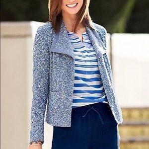 TALBOTS Wing-Collar Drape Front Tweed blazer small